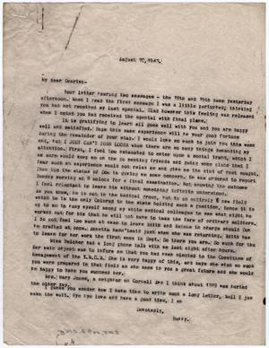 Primary view of object titled '[Letter from Dr. Edwin D. Moten to Josephine Bramlette Moten, August 20, 1943]'.