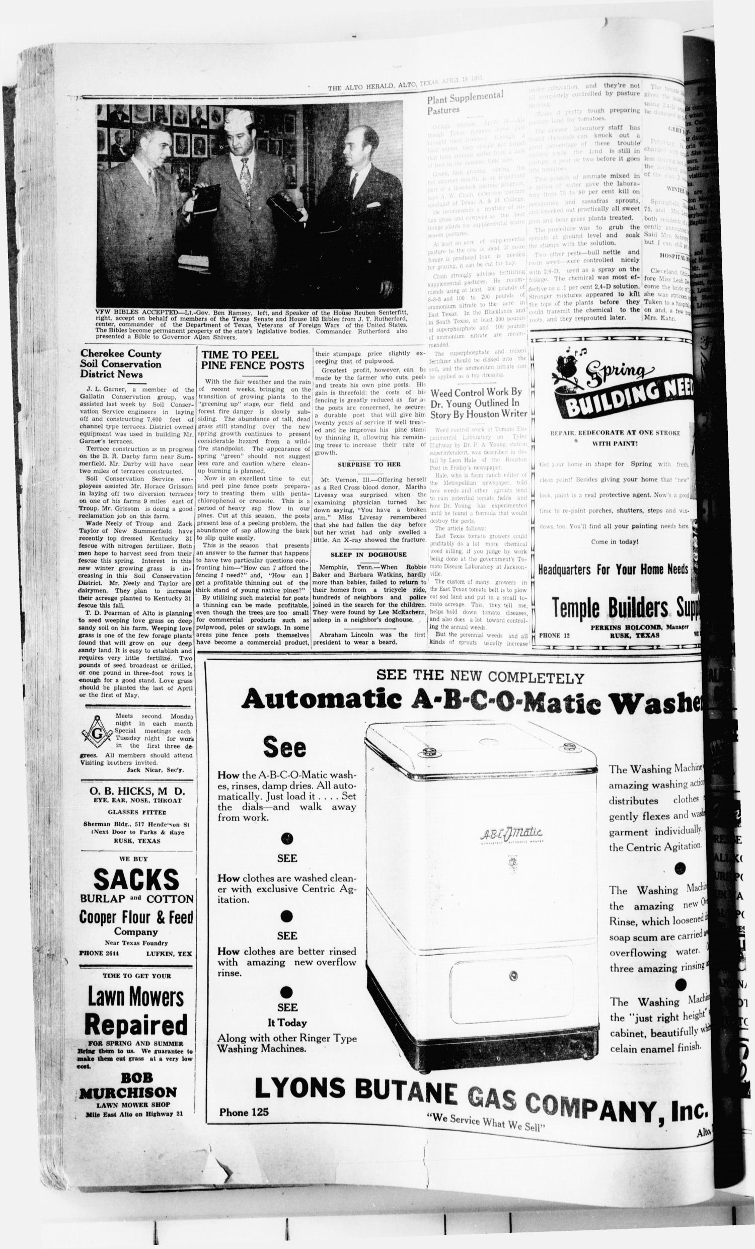 The Alto Herald (Alto, Tex.), No. 44, Ed. 1 Thursday, April 19, 1951                                                                                                      [Sequence #]: 8 of 12