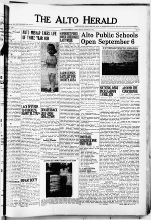 Primary view of object titled 'The Alto Herald (Alto, Tex.), No. 10, Ed. 1 Thursday, August 19, 1954'.