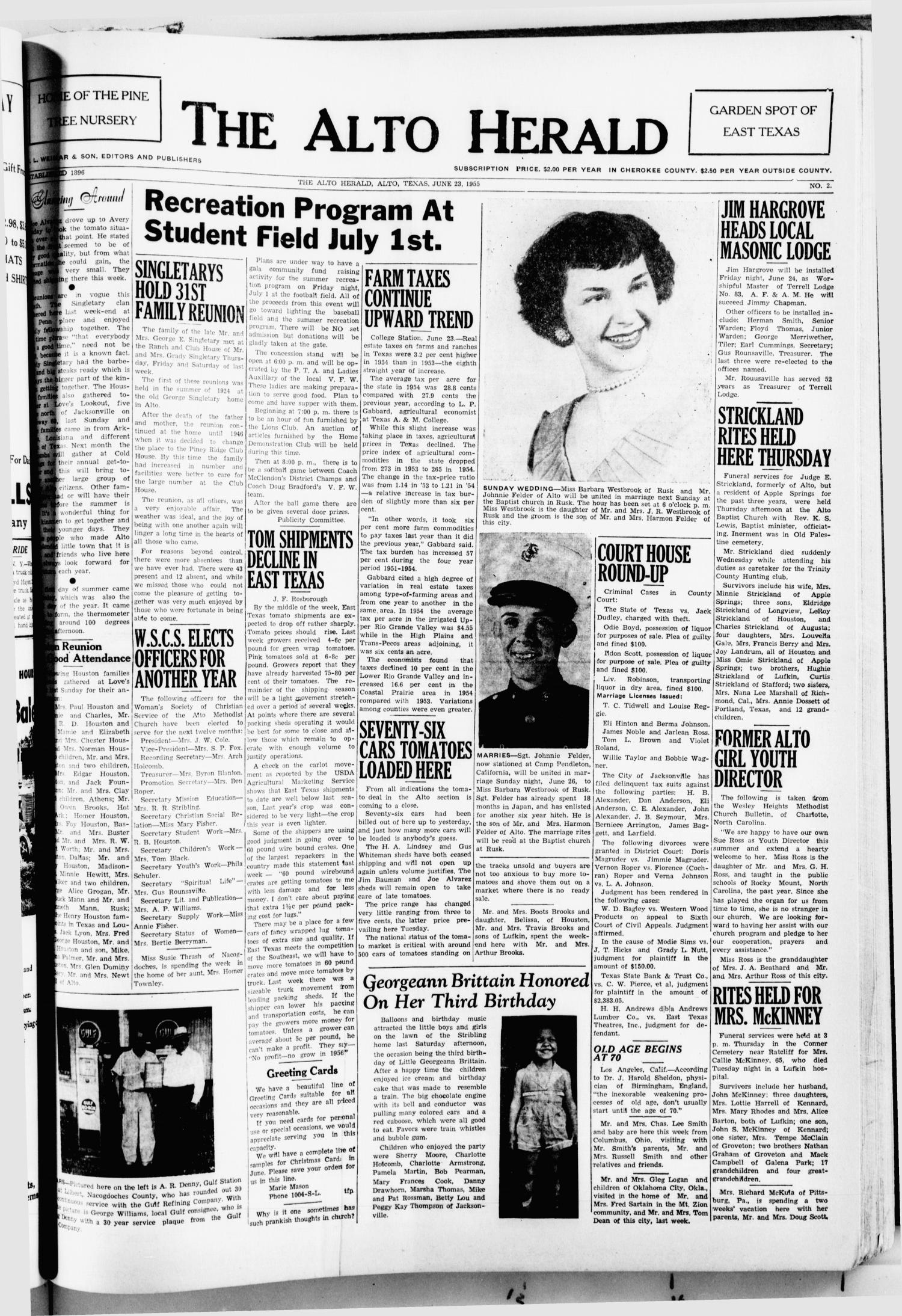 The Alto Herald (Alto, Tex.), No. 2, Ed. 1 Thursday, June 23, 1955                                                                                                      [Sequence #]: 1 of 8