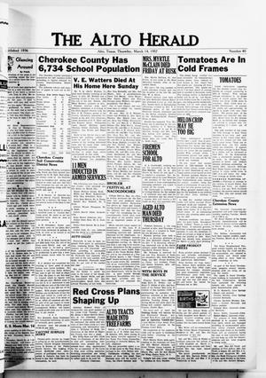 Primary view of object titled 'The Alto Herald (Alto, Tex.), No. 40, Ed. 1 Thursday, March 14, 1957'.