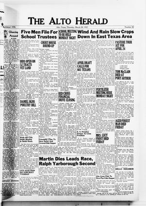 Primary view of object titled 'The Alto Herald (Alto, Tex.), No. 42, Ed. 1 Thursday, March 28, 1957'.