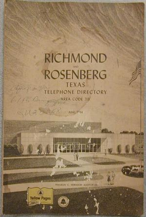 Primary view of object titled 'Richmond and Rosenberg, Texas Telephone Directory, 1964'.
