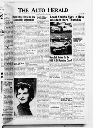 Primary view of object titled 'The Alto Herald (Alto, Tex.), No. 46, Ed. 1 Thursday, April 24, 1958'.