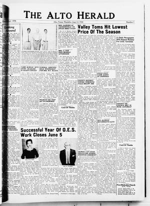 Primary view of object titled 'The Alto Herald (Alto, Tex.), No. 1, Ed. 1 Thursday, June 12, 1958'.
