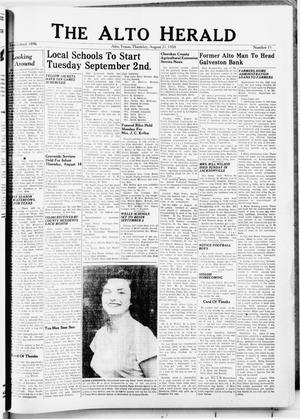 Primary view of object titled 'The Alto Herald (Alto, Tex.), No. 11, Ed. 1 Thursday, August 21, 1958'.
