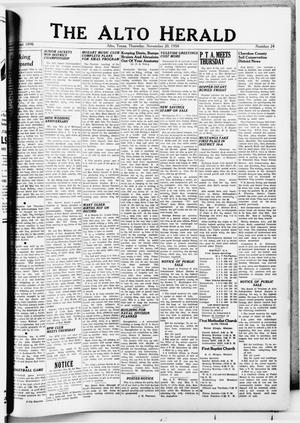 Primary view of object titled 'The Alto Herald (Alto, Tex.), No. 24, Ed. 1 Thursday, November 20, 1958'.