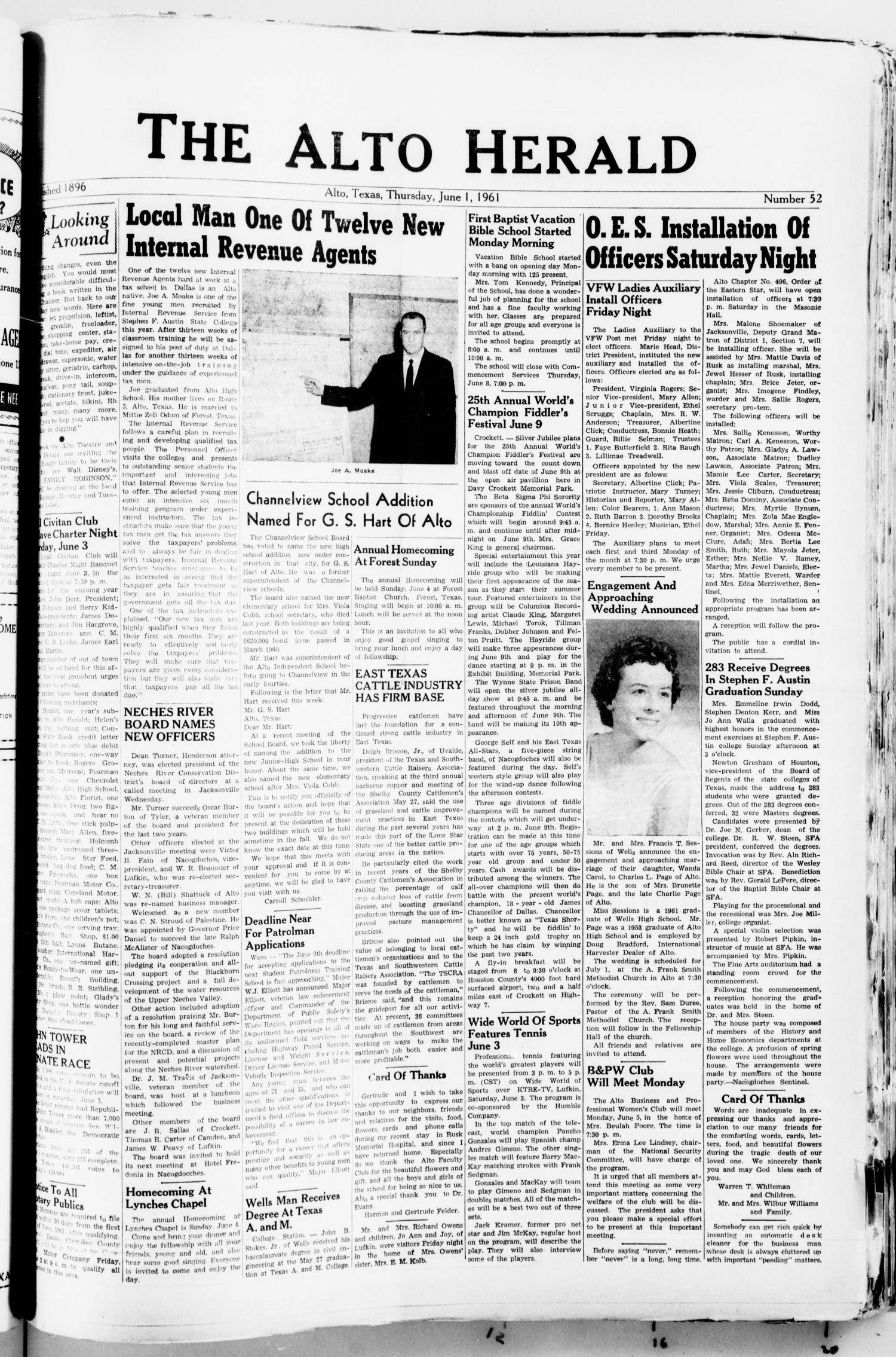 The Alto Herald (Alto, Tex.), No. 52, Ed. 1 Thursday, June 1, 1961                                                                                                      [Sequence #]: 1 of 8
