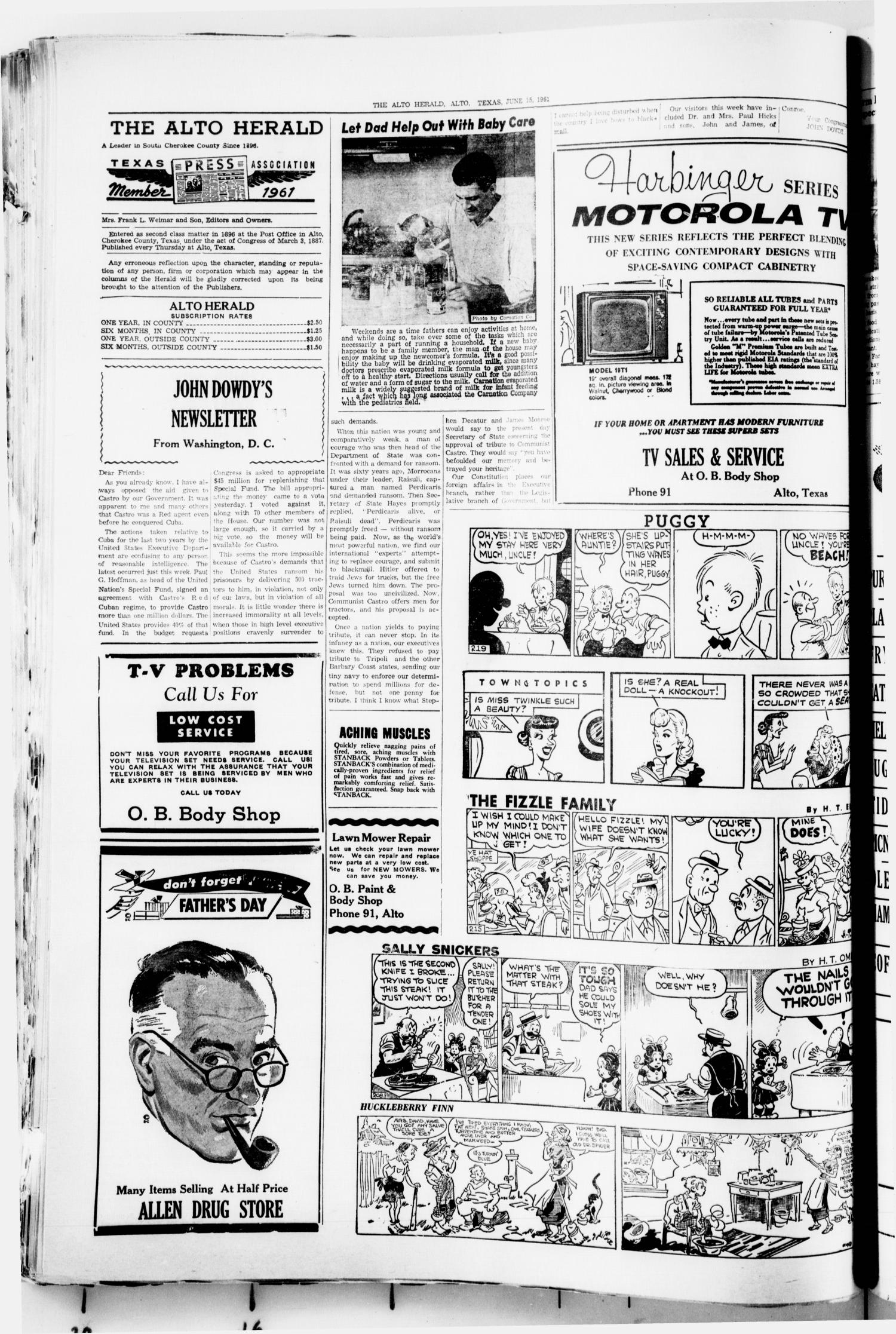 The Alto Herald (Alto, Tex.), No. 2, Ed. 1 Thursday, June 15, 1961                                                                                                      [Sequence #]: 2 of 8