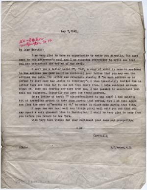 Primary view of object titled '[Letter from Dr. Edwin D. Moten to Portia, May 7, 1940]'.