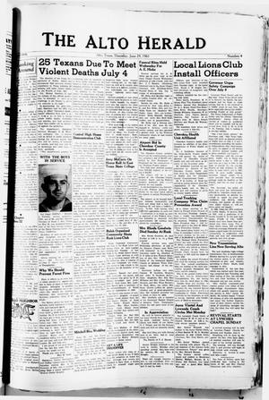 Primary view of object titled 'The Alto Herald (Alto, Tex.), No. 4, Ed. 1 Thursday, June 29, 1961'.