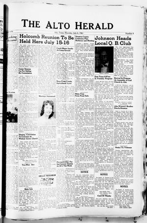 Primary view of object titled 'The Alto Herald (Alto, Tex.), No. 5, Ed. 1 Thursday, July 6, 1961'.