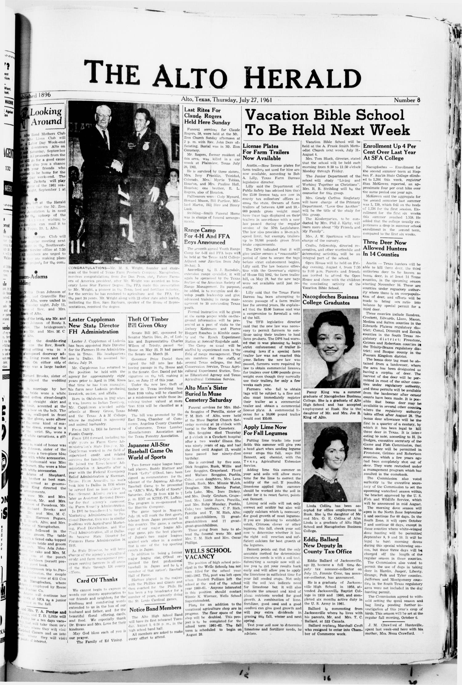 The Alto Herald (Alto, Tex.), No. 8, Ed. 1 Thursday, July 27, 1961                                                                                                      [Sequence #]: 1 of 8