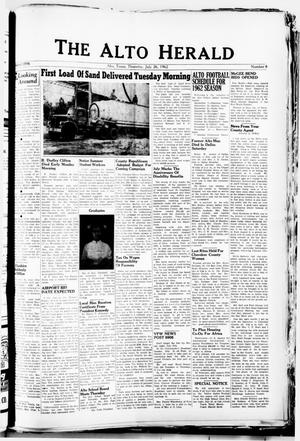 Primary view of object titled 'The Alto Herald (Alto, Tex.), No. 8, Ed. 1 Thursday, July 26, 1962'.