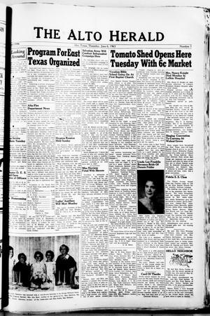 Primary view of object titled 'The Alto Herald (Alto, Tex.), No. 1, Ed. 1 Thursday, June 6, 1963'.