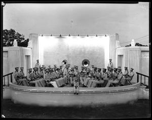Primary view of object titled '[Teachers' College Band on stage]'.