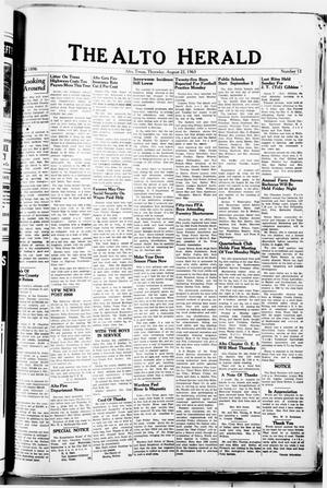 Primary view of object titled 'The Alto Herald (Alto, Tex.), No. 12, Ed. 1 Thursday, August 22, 1963'.