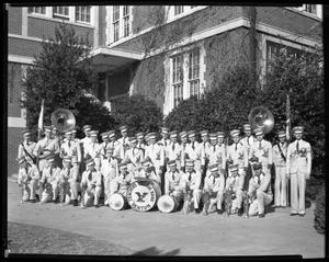 Primary view of object titled '[Teacher's College Band in front of unidentified building]'.