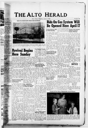 Primary view of object titled 'The Alto Herald (Alto, Tex.), No. 44, Ed. 1 Thursday, April 2, 1964'.