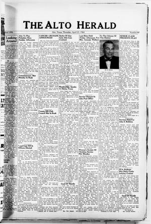 Primary view of object titled 'The Alto Herald (Alto, Tex.), No. 47, Ed. 1 Thursday, April 23, 1964'.