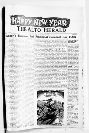 Primary view of object titled 'The Alto Herald (Alto, Tex.), No. 31, Ed. 1 Thursday, December 31, 1964'.