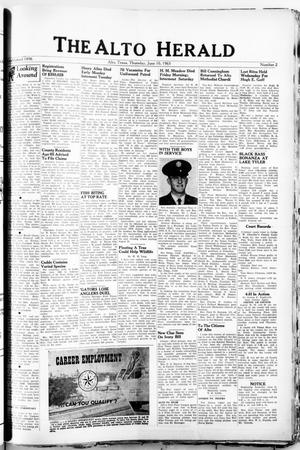 Primary view of object titled 'The Alto Herald (Alto, Tex.), No. 2, Ed. 1 Thursday, June 10, 1965'.
