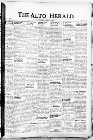Primary view of object titled 'The Alto Herald (Alto, Tex.), No. 11, Ed. 1 Thursday, August 12, 1965'.