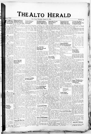 Primary view of object titled 'The Alto Herald (Alto, Tex.), No. 12, Ed. 1 Thursday, August 19, 1965'.
