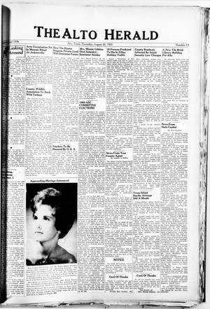 Primary view of object titled 'The Alto Herald (Alto, Tex.), No. 13, Ed. 1 Thursday, August 26, 1965'.