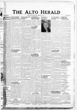 Primary view of object titled 'The Alto Herald (Alto, Tex.), No. 40, Ed. 1 Thursday, March 3, 1966'.