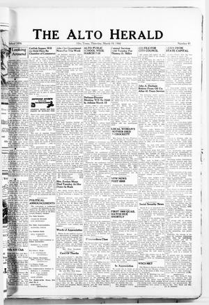 Primary view of object titled 'The Alto Herald (Alto, Tex.), No. 41, Ed. 1 Thursday, March 10, 1966'.