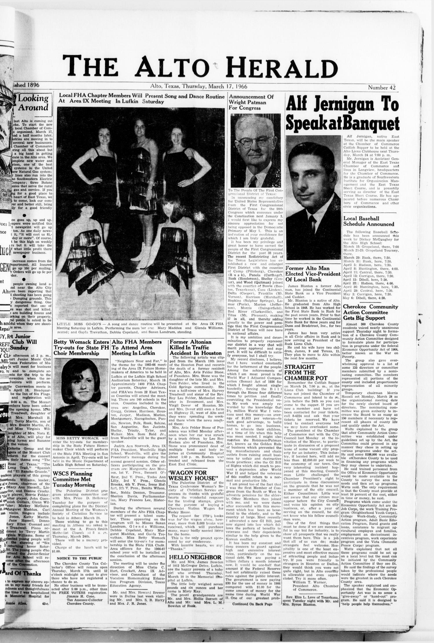 The Alto Herald (Alto, Tex.), No. 42, Ed. 1 Thursday, March 17, 1966                                                                                                      [Sequence #]: 1 of 10