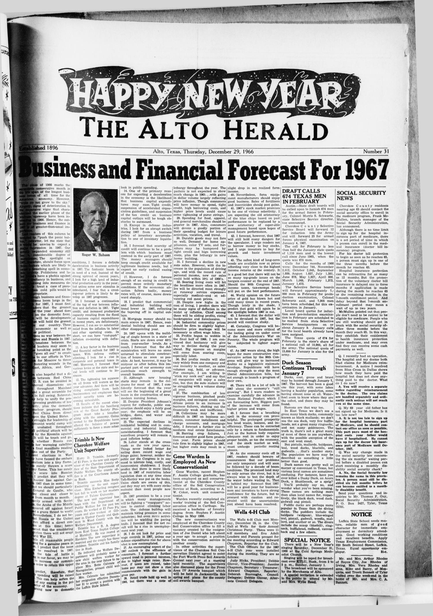 The Alto Herald (Alto, Tex.), No. 31, Ed. 1 Thursday, December 29, 1966                                                                                                      [Sequence #]: 1 of 4