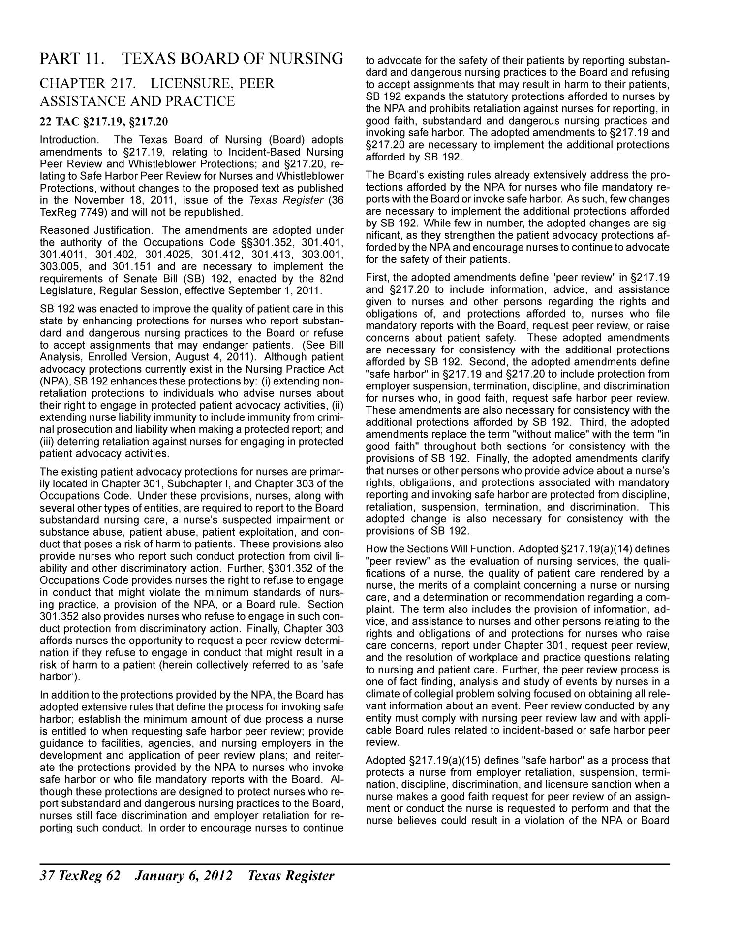 Texas Register, Volume 37, Number 1, Pages 1-84, January 6, 2012                                                                                                      62