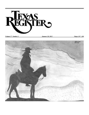 Primary view of object titled 'Texas Register, Volume 37, Number 3, Pages 147-244, January 20, 2012'.