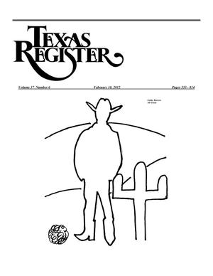 Primary view of object titled 'Texas Register, Volume 37, Number 6, Pages 553-814, February 10, 2012'.