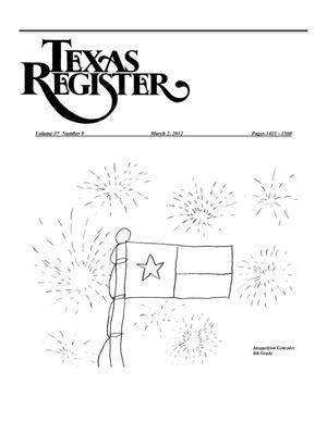 Primary view of object titled 'Texas Register, Volume 37, Number 9, Pages 1431-1560, March 2, 2012'.