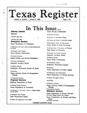 Primary view of object titled 'Texas Register, Volume 14, Number 1, Pages 1-87, January 3, 1989'.