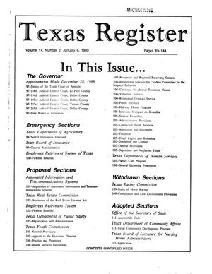 Primary view of object titled 'Texas Register, Volume 14, Number 2, Pages 89-144, January 6, 1989'.