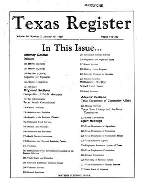 Texas Register, Volume 14, Number 3, Pages 145-233, January 10, 1989