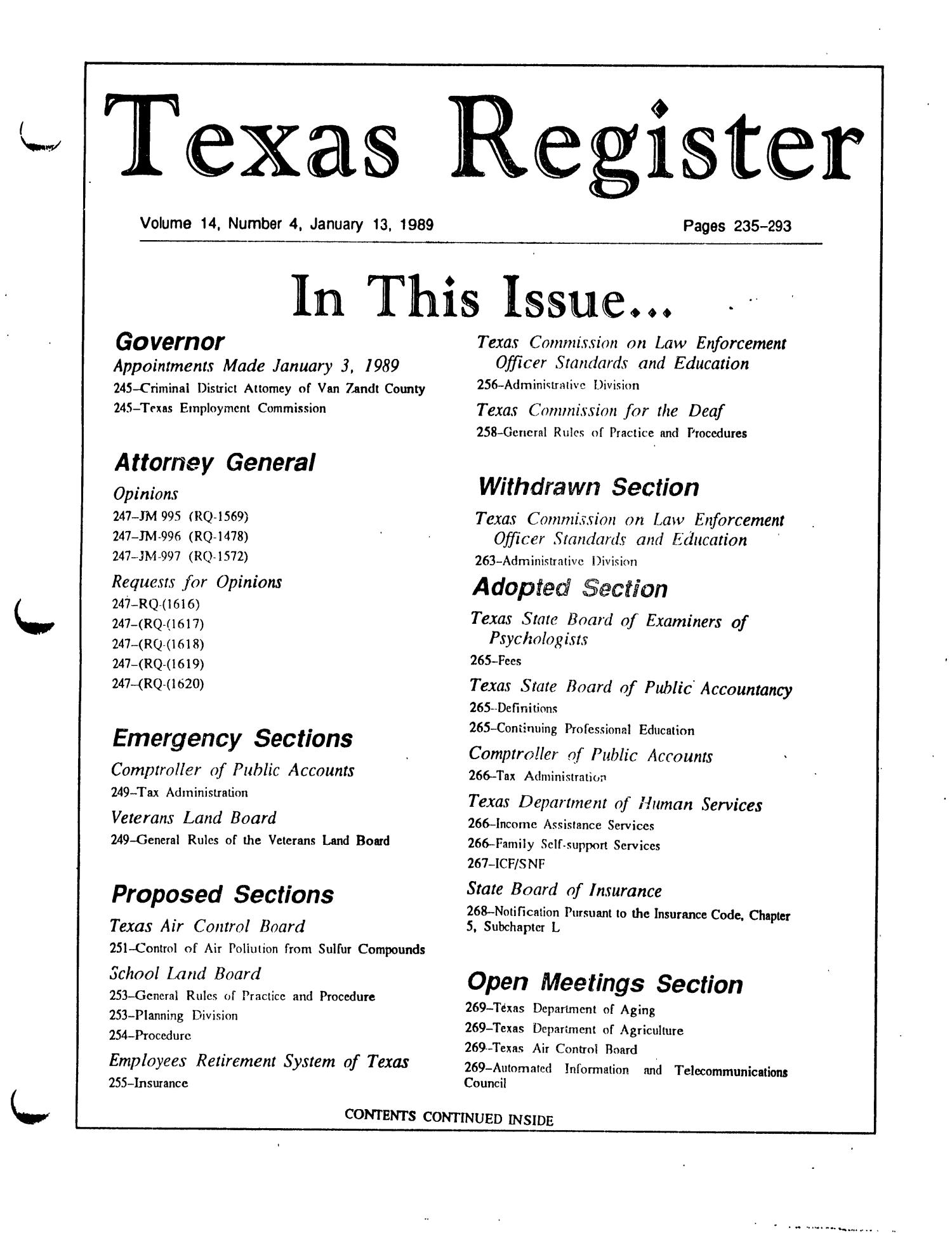 Texas Register, Volume 14, Number 4, Pages 235-293, January 13, 1989                                                                                                      Title Page