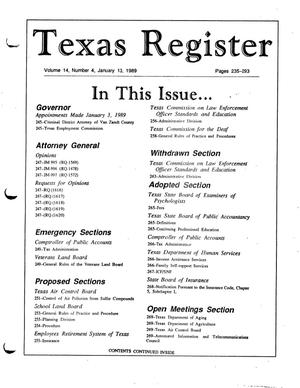 Texas Register, Volume 14, Number 4, Pages 235-293, January 13, 1989