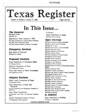 Primary view of object titled 'Texas Register, Volume 14, Number 5, Pages 295-328, January 17, 1989'.