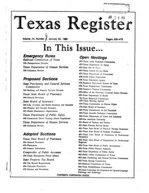 Primary view of object titled 'Texas Register, Volume 14, Number [6], Pages 329-475, January 20, 1989'.