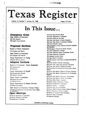 Primary view of object titled 'Texas Register, Volume 14, Number 7, Pages 477-535, January 24, 1989'.