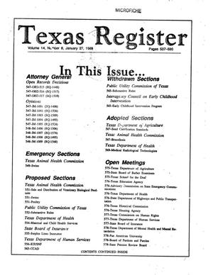 Texas Register, Volume 14, Number 8, Pages 537-590, January 27, 1989