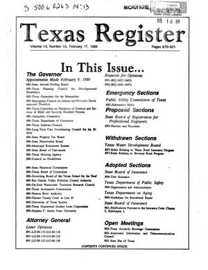 Texas Register, Volume 14, Number 13, Pages 879-921, February 17, 1989