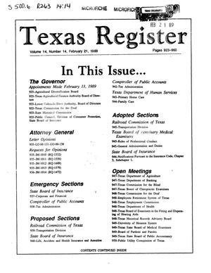 Primary view of object titled 'Texas Register, Volume 14, Number 14, Pages 923-960, February 21, 1989'.
