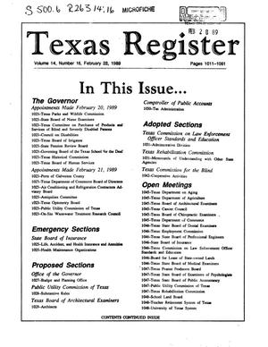 Primary view of object titled 'Texas Register, Volume 14, Number 16, Pages 1011-1061, February 28, 1989'.