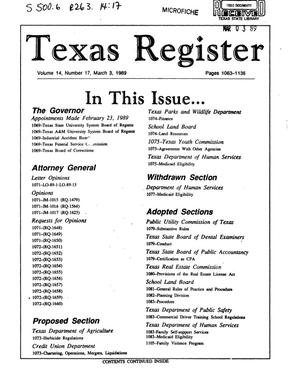 Primary view of object titled 'Texas Register, Volume 14, Number 17, Pages 1063-1136, March 3, 1989'.